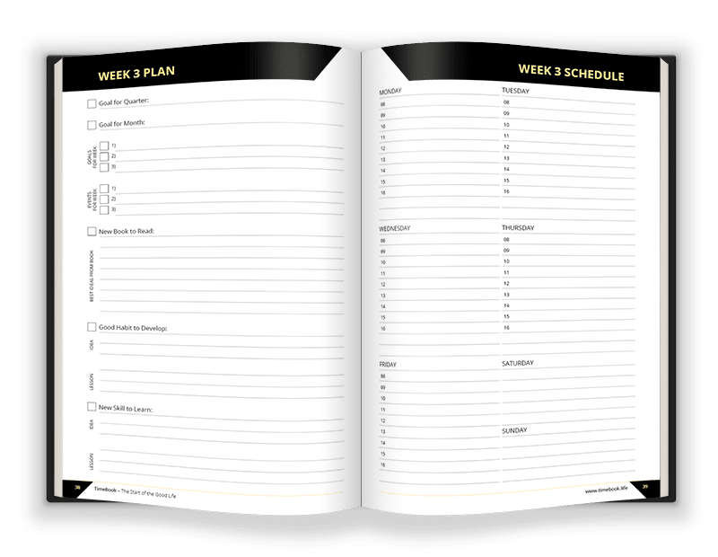 2. Every week keep yourself on the right track with goal setting, at-a-glance agenda and gratitude journal sheets.